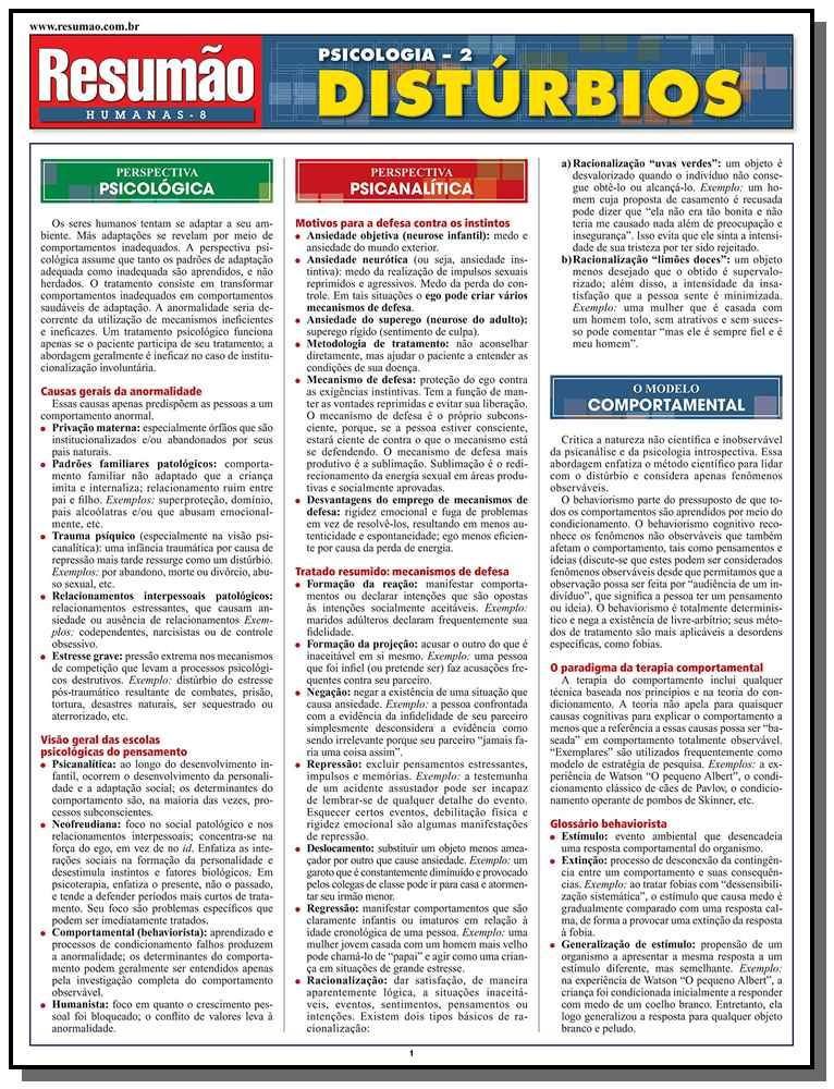 Resumao Ciencias Humanas - Psicologia 2 - Disturbi